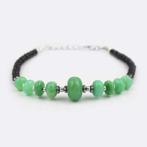 Black Spinel Rondelle Beads Chrysoprase Bracelet with Sterling Silver Handmade Gemstone Jewelry ()