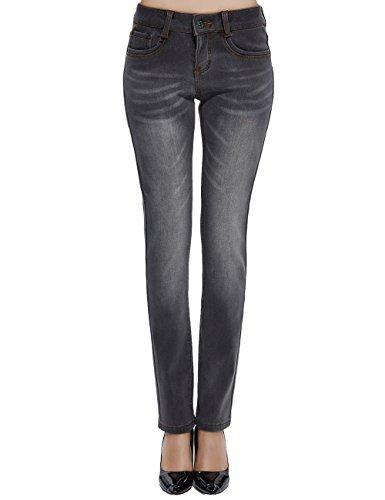 Camii Mia Women's Winter Slim Fit Thermal Fleece Jeans (W30 × L32, Grey (New Size))
