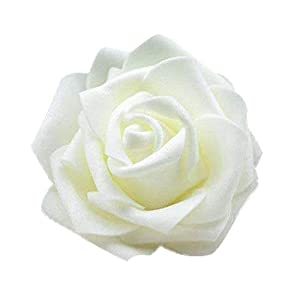 50Pcs Artificial Rose Flower Heads Silk Rose Flower Heads Simulation Rose Heads for Wedding Bouquet Decor Cream Color 95