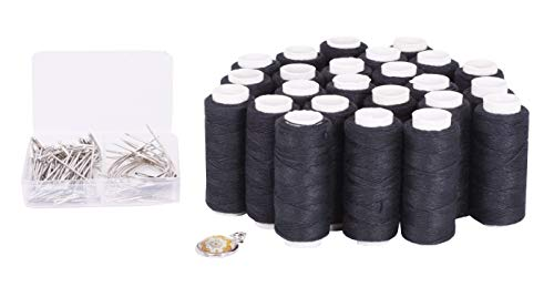 Mandala Crafts Weaving Thread and Needle Set for Hair, Wigs, Hair Extensions, Weft Sewing (24 Rolls 70 Needles, Black) ()
