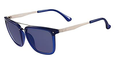 Calvin Klein Men's Ck1214s Flat Top Square Sunglasses, Electric Blue, 54 mm
