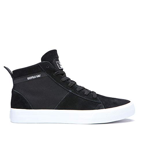Supra Footwear - Stacks Mid Top Skate Shoes, Black/Black-White, 12.5 M US Women/11 M US - Mid Top Shoe Skate