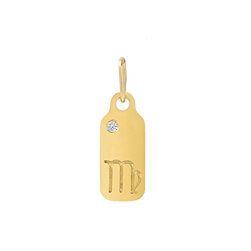 Tag Zodiac Dog (14k Yellow Gold Brilliant Diamond Set Zodiac Libra Dog-tag Pendant)