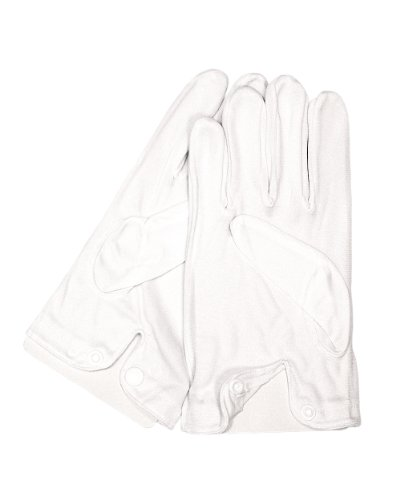Gants classiques blancs pour occasions formelles se fermant avec un bouton pression. Produit offert par NYfashion101.