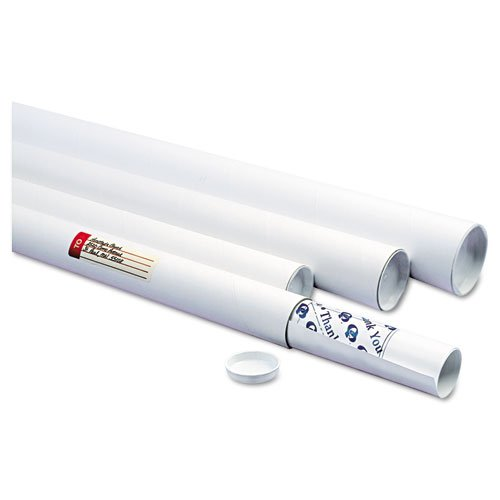 Quality Park 46026 White kraft mailing tubes w/recessed end plugs, inside: 42x3-1/2 dia., 25/ctn