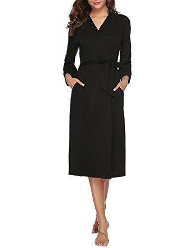 Abollria Women Kimono Robes Cotton Long Bathrobe Lightweight Sleepwear Soft Lounge Robe Black M