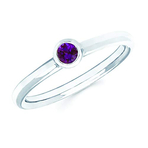 14K White Gold Round Created Alexandrite June Birthstone Bezel-Set Stackable Solitaire Ring, Size 9