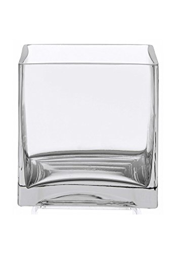 Flower Glass Vase Decorative Centerpiece For Home or Wedding by Royal Imports - Clear Cube Shape, 4