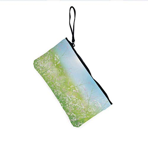 (Canvas Coin Purse Zipper Coin Holder Mini Wallet Bags Cosmetic Makeup Bags,Grass Weeds Plant Herbs on Earth with Vivid)