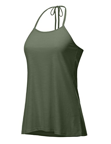 REGNA X Boho For Womans Yoga Athletic Flowy Hem Comfy Olive Green Khaki 2XL Plus Size Big Halterneck Sleevless Camisole Tank Tops,XX-Large Plus,Tie Back - Olive (Tops Halter Size Plus)