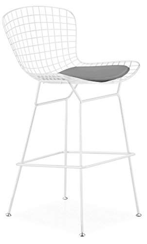 Bertoia Bar Stool Seat Pad (Bertoia Style Wire Counter Stool in White Finish Frame (Grey Seat Pad))