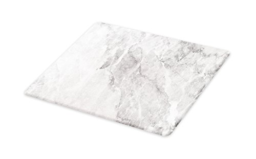Lunarable Marble Cutting Board, Retro Marble Pattern with Blurry Color Contrasts Formless and Abstract Wavy Display, Decorative Tempered Glass Cutting and Serving Board, Large Size, Grey White
