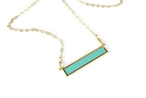 Amazon turquoise color gold bar necklace layered horizontal turquoise color gold bar necklace layered horizontal thin modern jewelry 14k gold filled audiocablefo