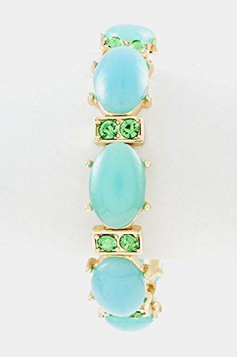 Trendy Fashion Jewelry Oval Stone with Rhinestone Station Accent Stretch Bracelet By Fashion Destination | (Mint)