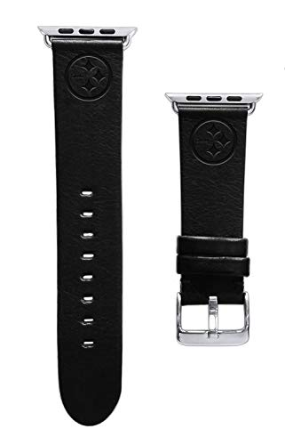 Buckle Steelers (Game Time Pittsburgh Steelers Black Leather Band Compatible with Apple Watch - 42mm/44mm Long Length)