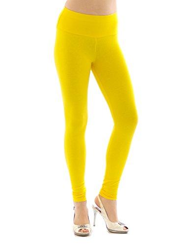 YESET Femme Leggings pantalon long leggings en coton Taille haute JAUNE XXL