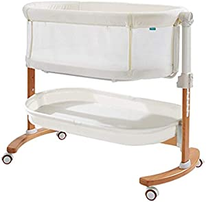 Baby cradle Rocking Chair Portable Bed Detachable Baby Lathe Newborns Sway Baby Swing Splicing Bed Movable Baby Recliner with Wheels Bed (Color : White)