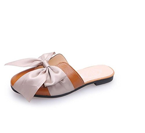Pointed pit4tk Mules Shoes Flat Summer Shoes Half Loafers Toe Female Bow Brown Women Flats Tie Slippers axarqwA