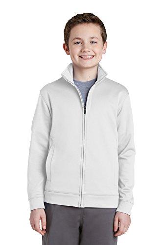 Sport-Tek Boy's Fleece Full-Zip Jacket_White_L