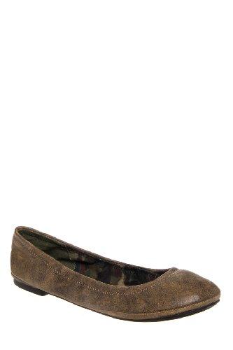 LUCKY BRAND Women's Emmie Flat (Dk Camel Leather 7.0 M)