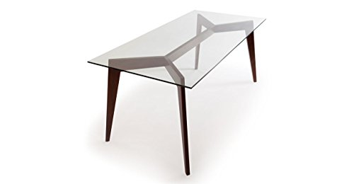 Kardiel Deco Blaze Mid-Century Modern Dining Table, Walnut Legs, Glass Top