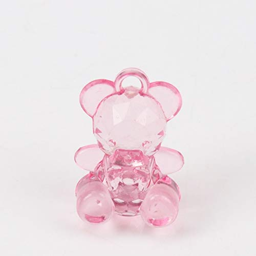 Calvas DIY 50PCs Pink Blue Acrylic Crystal Faceted Bear Charms Beads for Kids Jewelry 19x14mm Z554 - (Color: Pink)