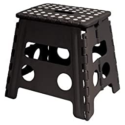 Home-it Folding Step Stool Children and for Adults 13 In. Black with dots Holds up to 300 LBS