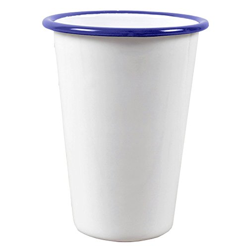 Enamelware 14 Ounce Tumbler -Solid White with Blue Rim - Falcon Enamelware