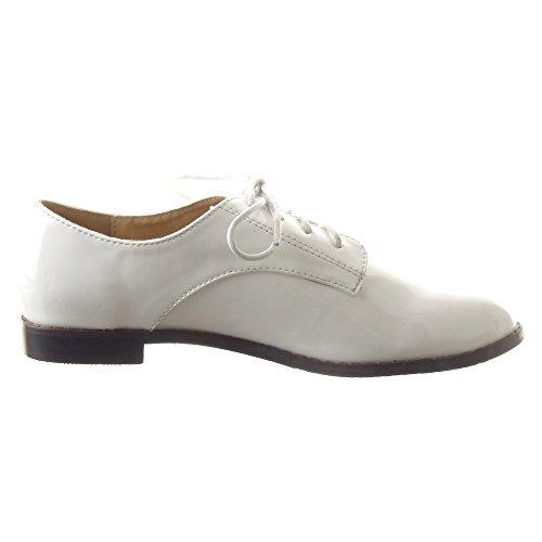 Sopily - damen Mode Schuhe Derby-Schuh Mokassin Fertig Steppnähte - Weiß