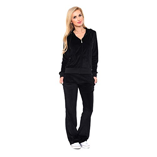 Women's Athletic Soft Velour Zip Up Hoodie & Sweat Pants Set Jogging Suit (L, Black) from White Mark