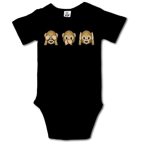 Ghhpws Cute Monkey Hear See No Evil Baby's Unisex Short Sleeve Comfortable One Piece Black Size 0-3 M