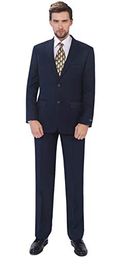 - P&L Men's 2-Piece Classic Fit Single Breasted 2 Buttons Blazer & Trousers Suit Navy