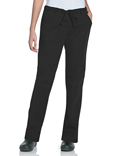 Landau Women's 5-Pocket Elastic Waist Drawstring Cargo Stretch Scrub Pant, Black, Medium