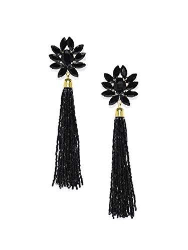 Zaveri Pearls Sparkling Black Crystals Fashion Forward Tassel Earring For Women-ZPFK7528
