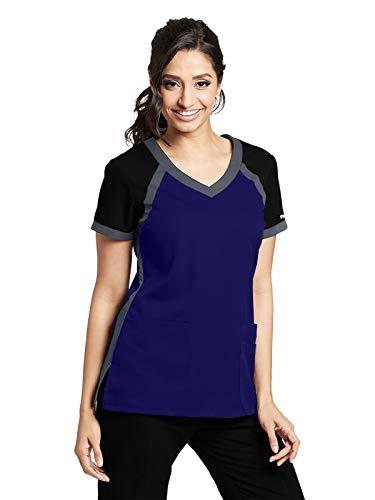 Grey's Anatomy Active 41435 Women's 3 Pocket Raglan Scub V-Neck Scrub Top Vivid Violet/Granite/Black M