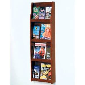DMD Magazine Rack, Wall Mount 12 Pocket Literature Display, Holds 6 Larger Books or Magazines and 12 Brochures, Mahogany Wood Finish 6 Pocket Wood Literature Display