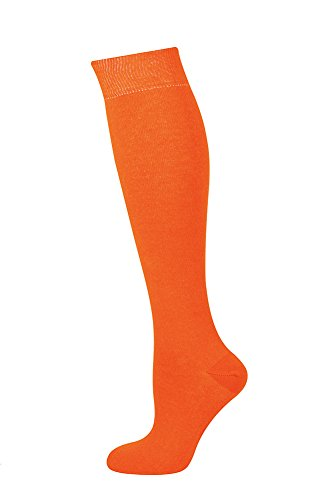 Mysocks Unisex Knee High Long Socks Plain Orange -