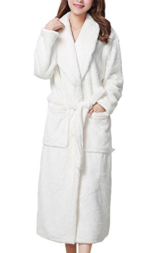 LUXEHOME Women's Ultra Soft 100% Flannel Bathrobe Luxury Shawl Collar Spa Robes (One Size, White)