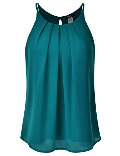 EIMIN Women's Crewneck Pleated Front Double Layered Chiffon Cami Tank Top Teal 1XL