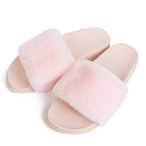 Pink Sandals Slide Indoor Slippers Casual Women's Flat Outdoor Toe JINKUNL Furry Open FPwv1q
