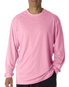 Badger T shirt 4104 Blank Men's B-Core Long-Sleeve Performance Tee Pink 3XL