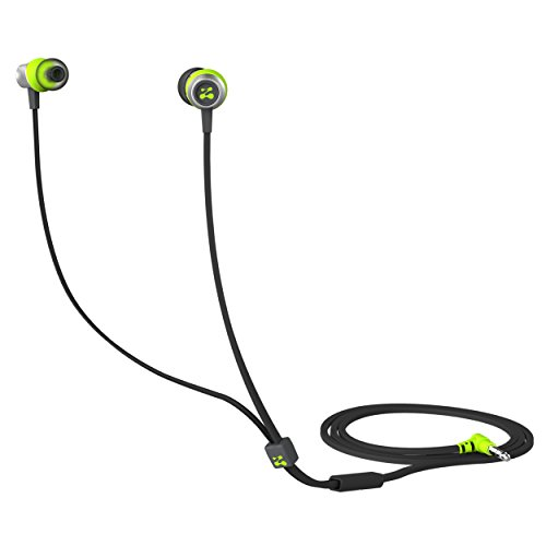 Zipbuds SLIDE Sport Earbuds with Mic (Most Durable, Tangle-Free, Workout In-Ear Headphones) - (Neon Yellow & Black)