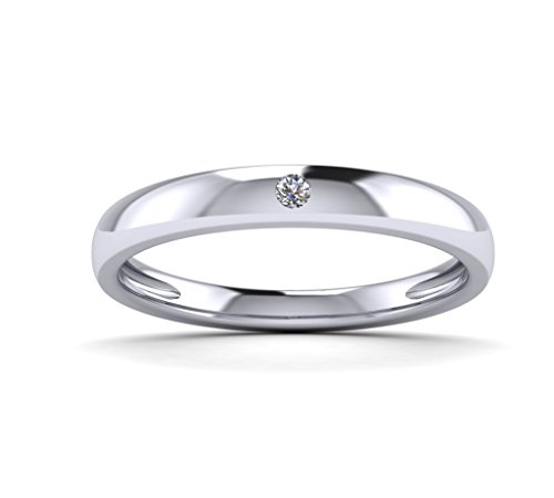 Fehu Jewel Women's Solitaire Ring Eternity Ring Natural Diamond 0.03ct Sterling Silver Over Gold Plated - Natural Diamond Mens Ring