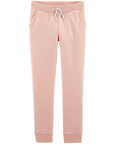 OshKosh B'Gosh Girls' Kids Fleece Jogger Pants, Pink Salt, 4-5
