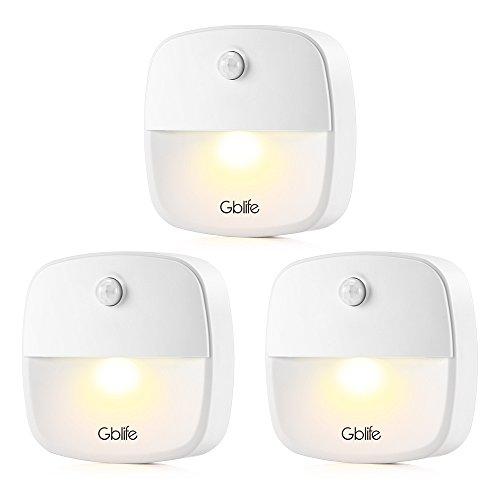 Motion Sensor Lights, Gblife Battery Powered Nightlights, Stick On Anywhere Warm White LED Wall Lights,Closet Light Safe Light for Bedroom Stairs - Motion Puck Led Light