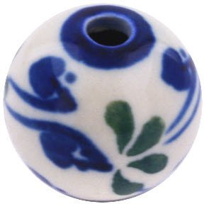 Polish Pottery Bead 1-inch Bleeding Heart Peacock