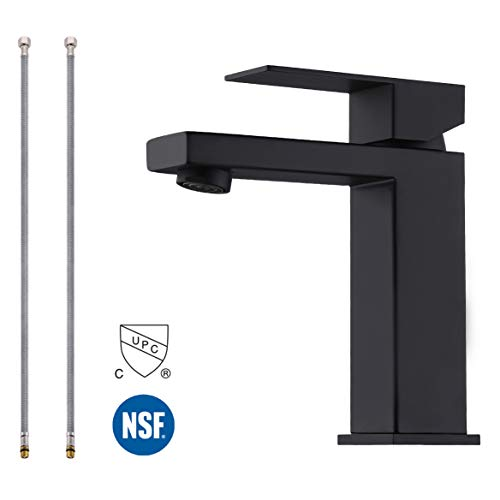 KES Modern Bathroom Faucet Single Handle Vanity Sink Faucet SUS 304 Stainless Steel Rust Free, Matte Black L3156ALF-BK