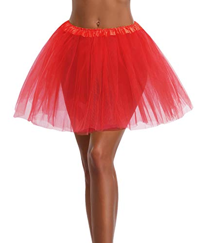 Women's, Teen, Adult Classic Elastic 3, 4, 5 Layered Tulle Tutu Skirt (One Size, Red 3Layer)