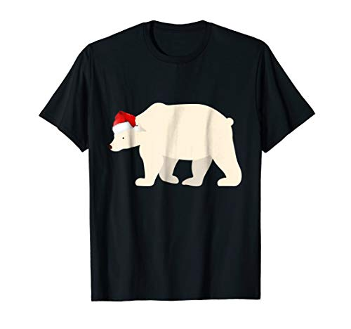 Christmas Pajama Shirt Christmas Polar Bear Santa Hat Tee