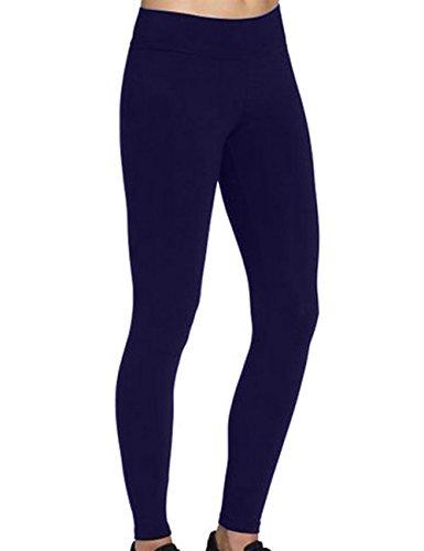 ABUSA Womens Yoga Leggings Power Flex Tummy Control Exercise Running Workout Pants S Deepblue
